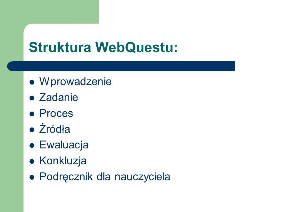 Struktura WebQuestu: Wprowadzenie Zadanie Proces Źródła Ewaluacja