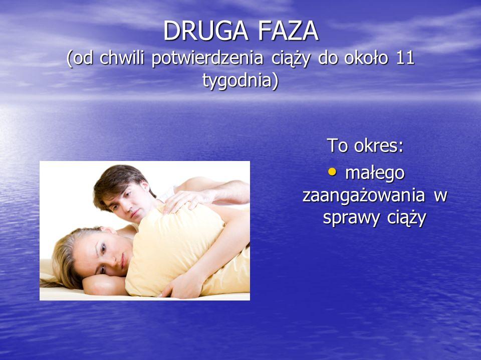 DRUGA FAZA (od chwili potwierdzenia ciąży do około 11 tygodnia)