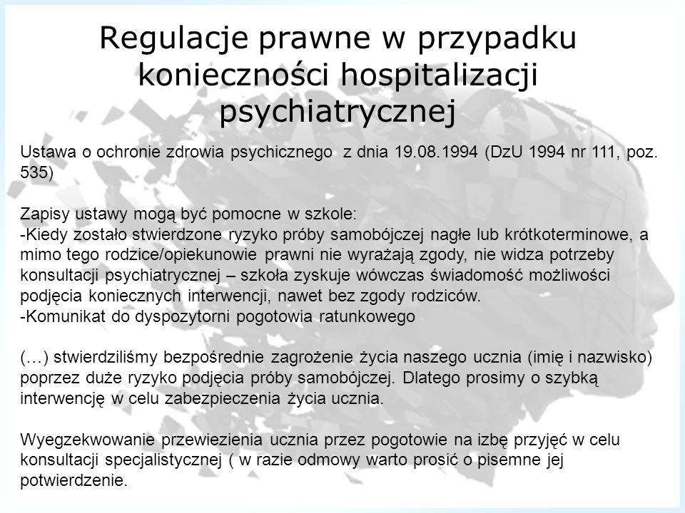 Regulacje prawne w przypadku konieczności hospitalizacji psychiatrycznej