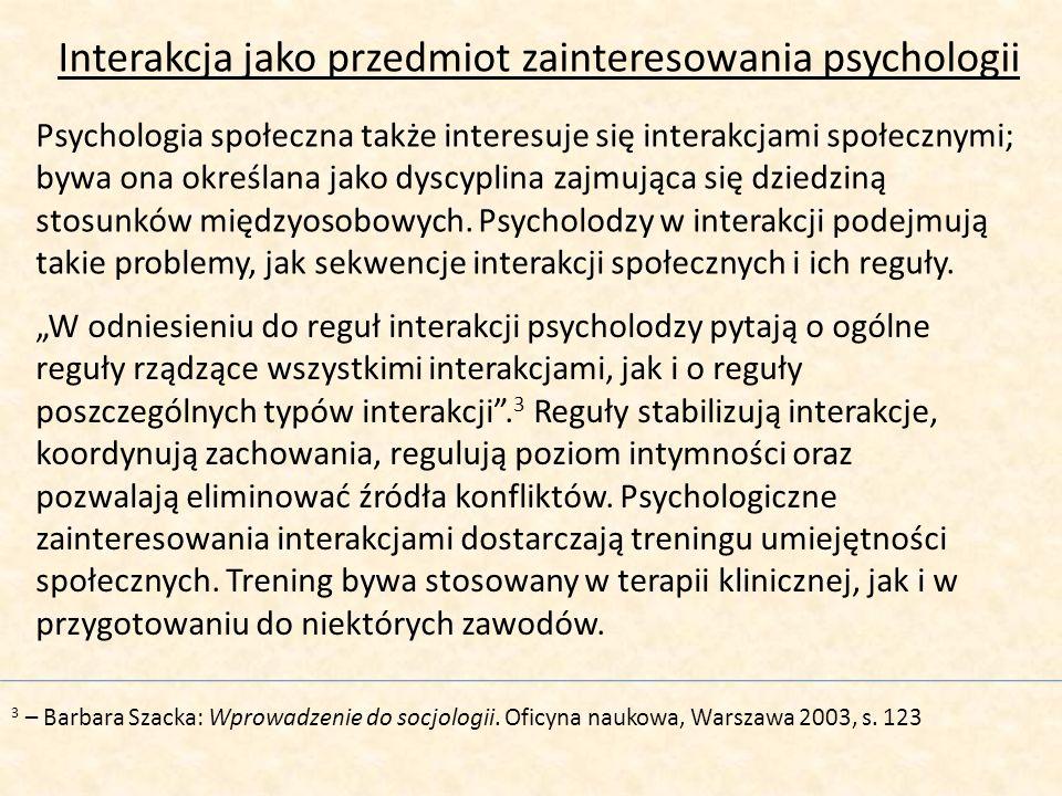 Interakcja jako przedmiot zainteresowania psychologii