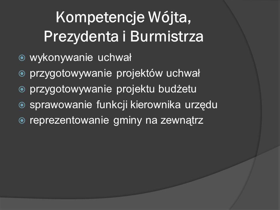 Kompetencje Wójta, Prezydenta i Burmistrza