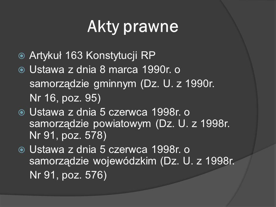 Akty prawne Artykuł 163 Konstytucji RP Ustawa z dnia 8 marca 1990r. o
