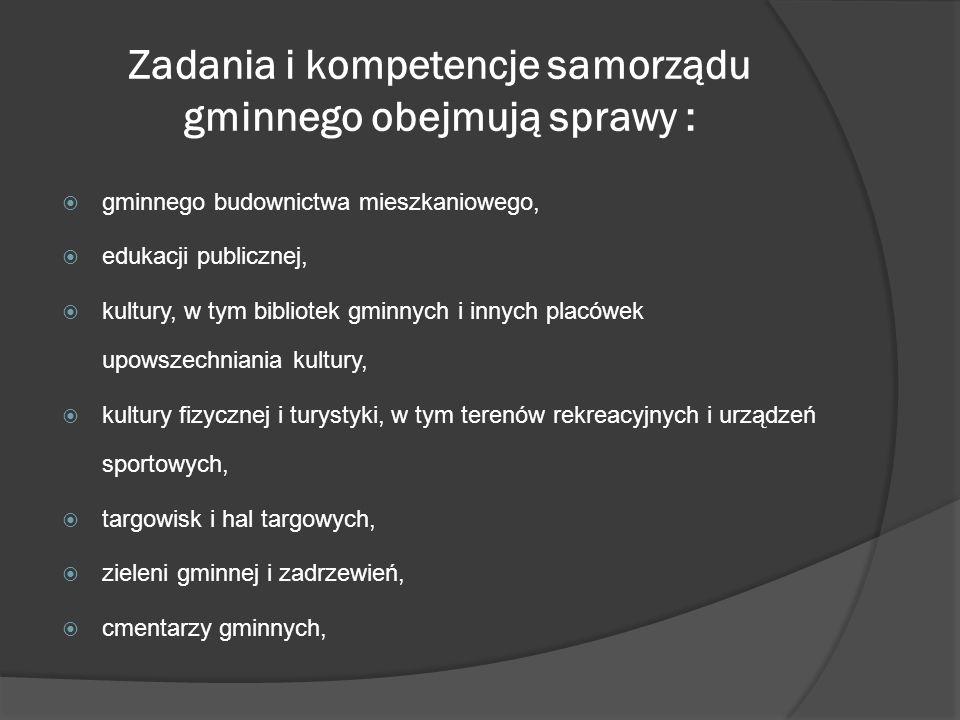 Zadania i kompetencje samorządu gminnego obejmują sprawy :