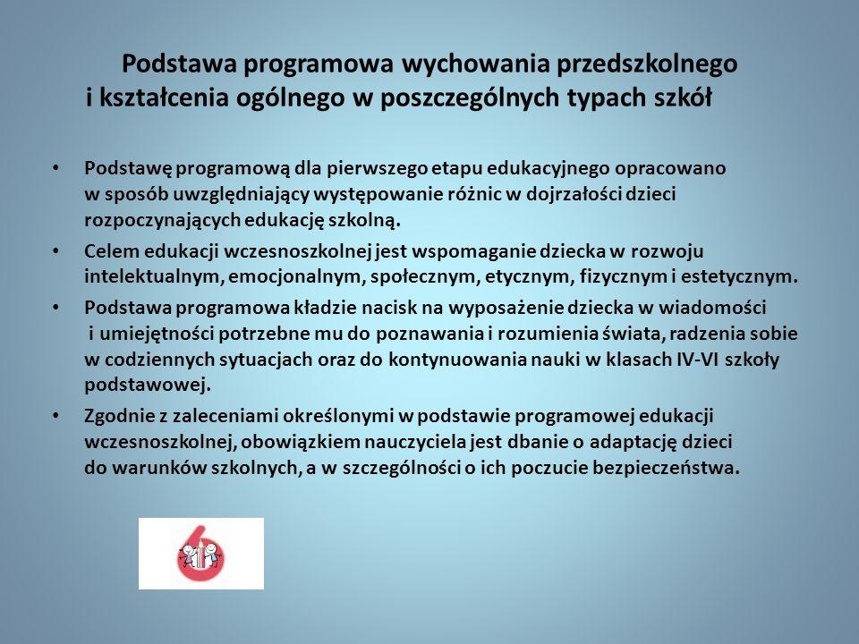 Podstawa programowa wychowania przedszkolnego i kształcenia ogólnego w poszczególnych typach szkół