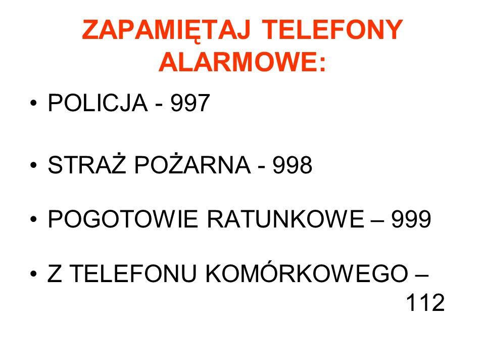 ZAPAMIĘTAJ TELEFONY ALARMOWE: