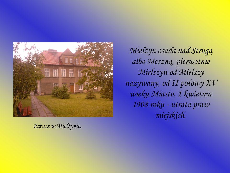 Mielżyn osada nad Strugą albo Meszną, pierwotnie Mielszyn od Mielszy nazywany, od II połowy XV wieku Miasto. 1 kwietnia 1908 roku - utrata praw miejskich.