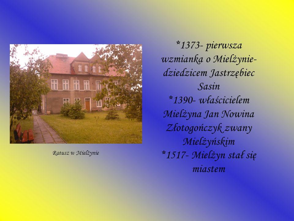 1373- pierwsza wzmianka o Mielżynie- dziedzicem Jastrzębiec Sasin