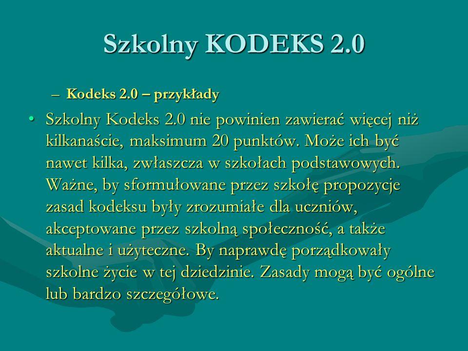 Szkolny KODEKS 2.0Kodeks 2.0 – przykłady.