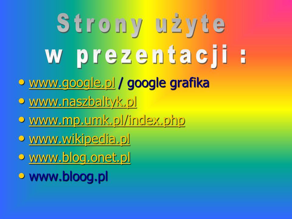 Strony użyte w prezentacji : www.google.pl / google grafika