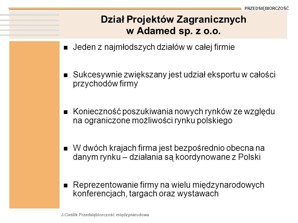 Dział Projektów Zagranicznych w Adamed sp. z o.o.