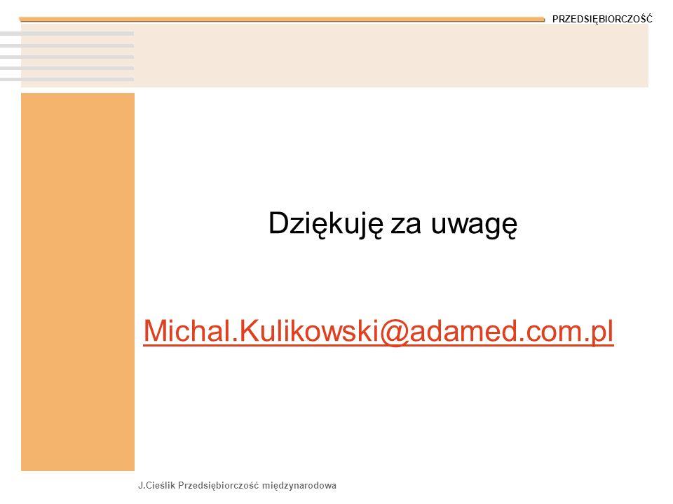 Dziękuję za uwagę Michal.Kulikowski@adamed.com.pl