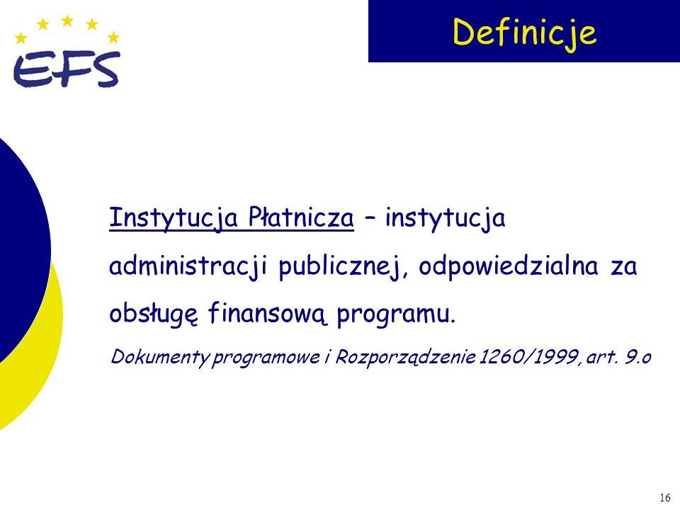 Definicje Instytucja Płatnicza – instytucja administracji publicznej, odpowiedzialna za obsługę finansową programu.
