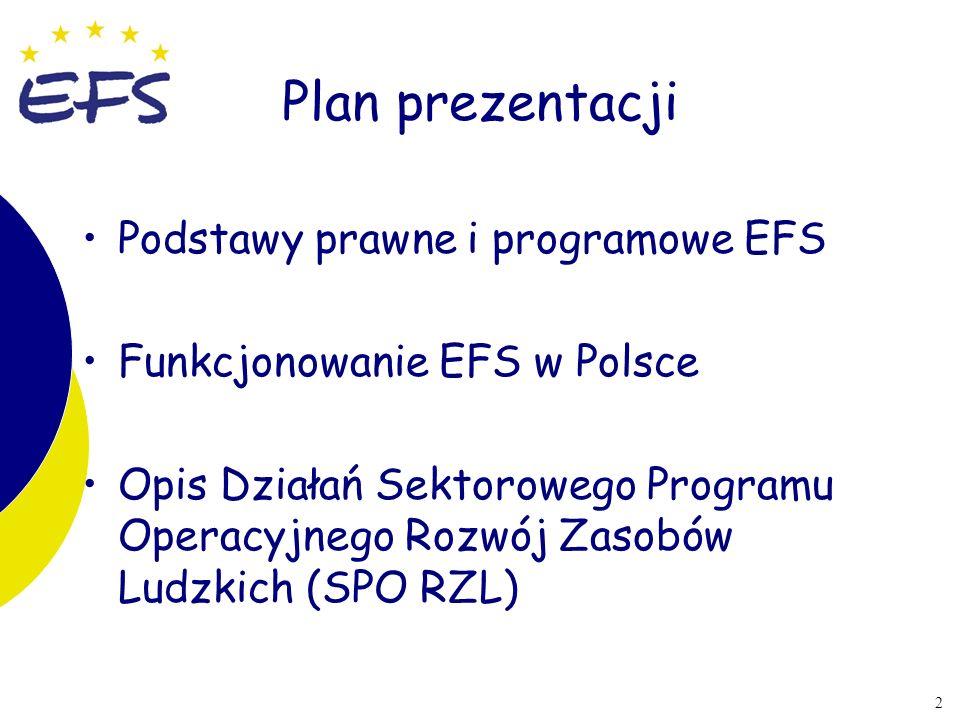Plan prezentacji Podstawy prawne i programowe EFS