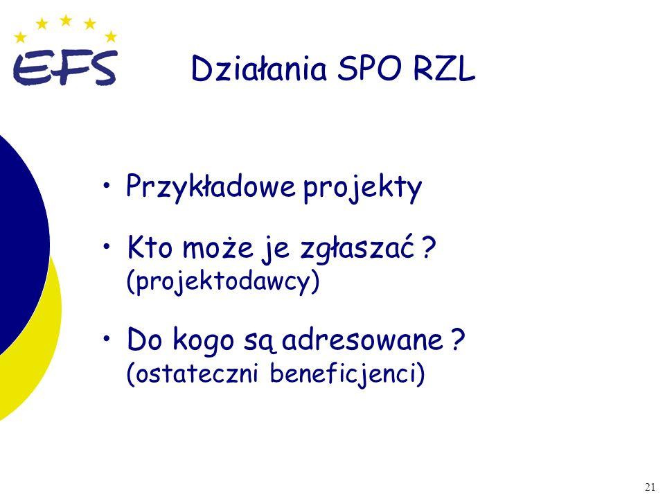 Działania SPO RZL Przykładowe projekty