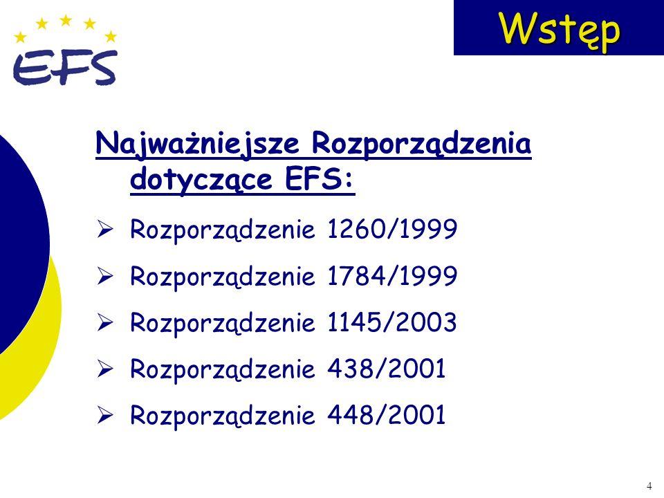 Wstęp Najważniejsze Rozporządzenia dotyczące EFS: