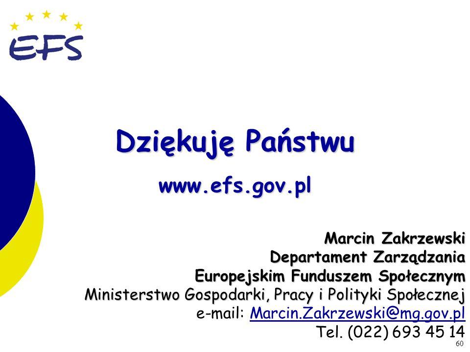 Dziękuję Państwu www.efs.gov.pl Marcin Zakrzewski