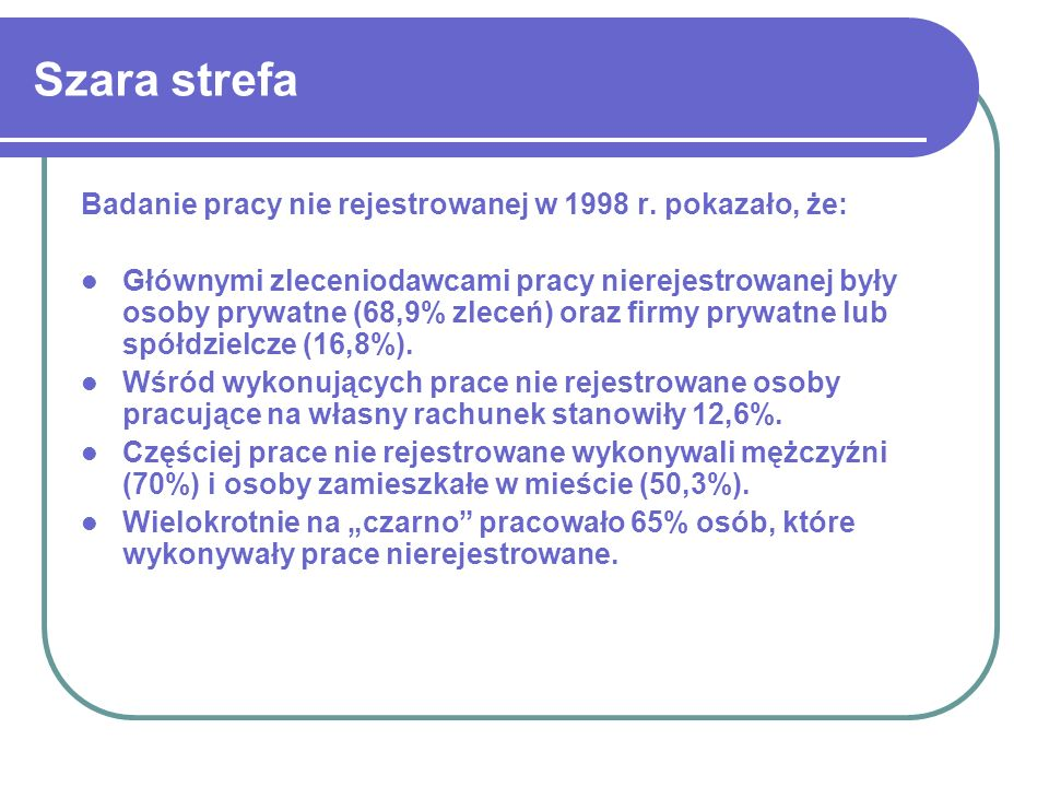 Szara strefa Badanie pracy nie rejestrowanej w 1998 r. pokazało, że:
