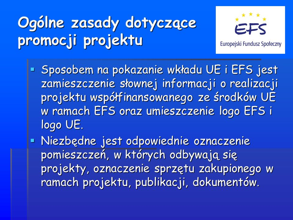 Ogólne zasady dotyczące promocji projektu