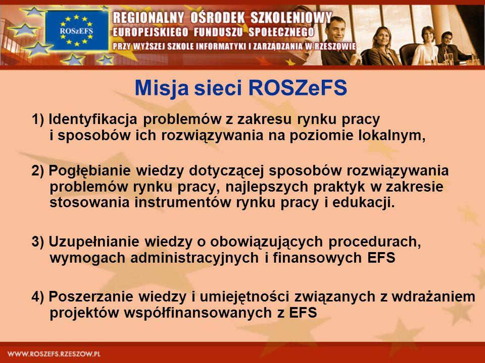 Misja sieci ROSZeFS 1) Identyfikacja problemów z zakresu rynku pracy i sposobów ich rozwiązywania na poziomie lokalnym,