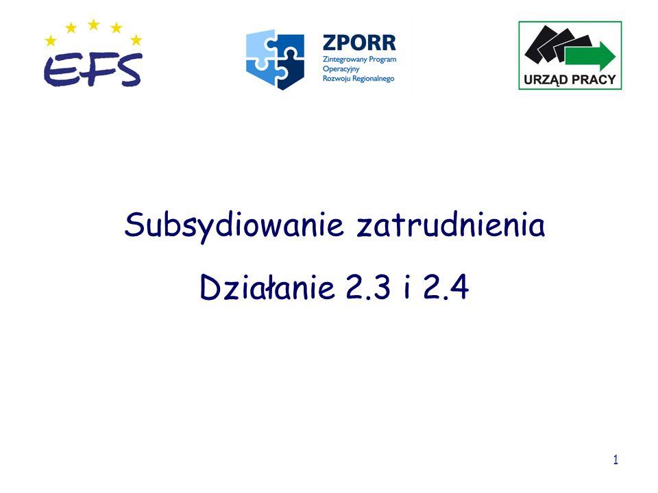 Subsydiowanie zatrudnienia Działanie 2.3 i 2.4