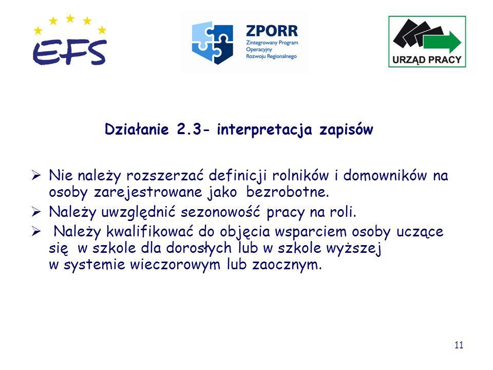 Działanie 2.3- interpretacja zapisów