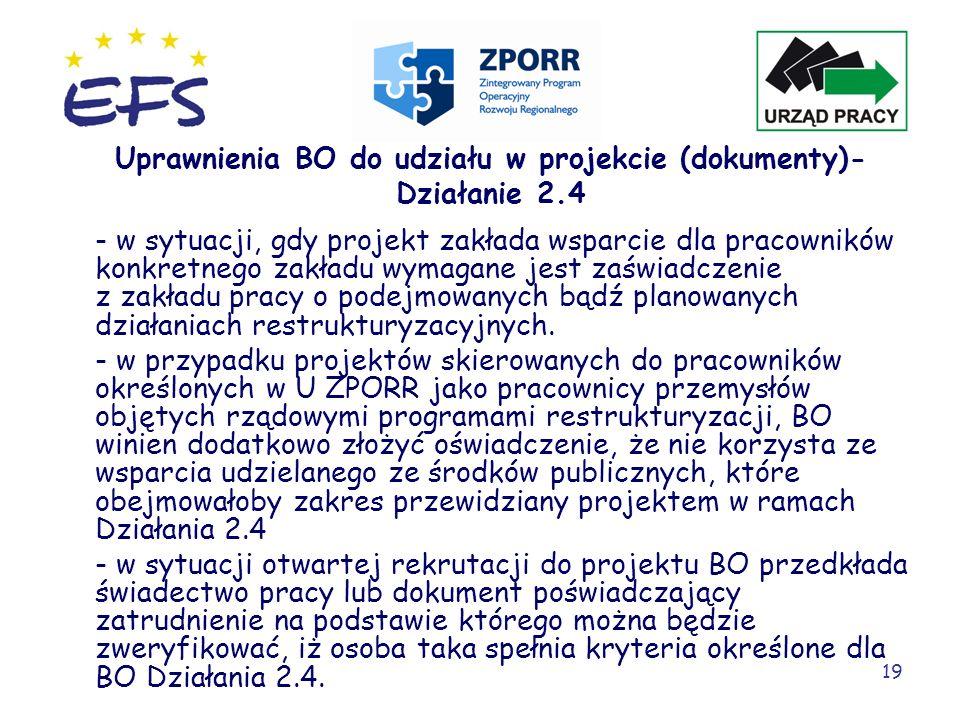 Uprawnienia BO do udziału w projekcie (dokumenty)- Działanie 2.4