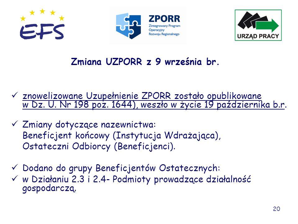 Zmiana UZPORR z 9 września br.