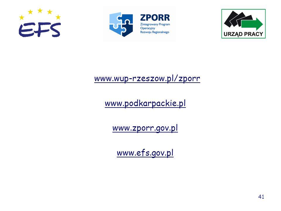 www.wup-rzeszow.pl/zporr www.podkarpackie.pl www.zporr.gov.pl www.efs.gov.pl