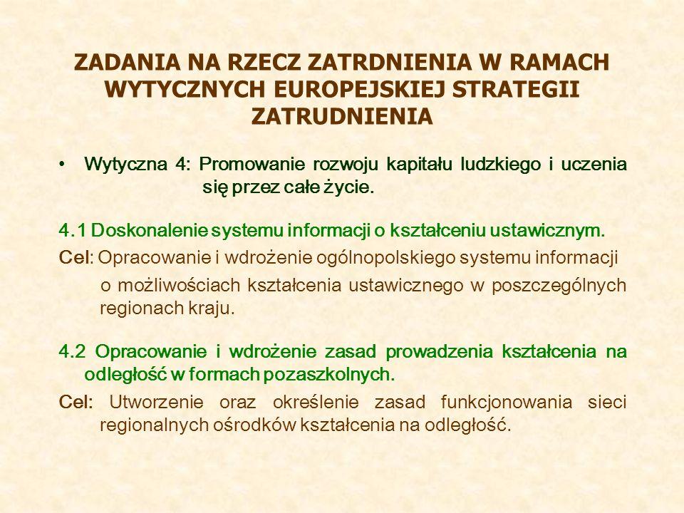ZADANIA NA RZECZ ZATRDNIENIA W RAMACH WYTYCZNYCH EUROPEJSKIEJ STRATEGII ZATRUDNIENIA