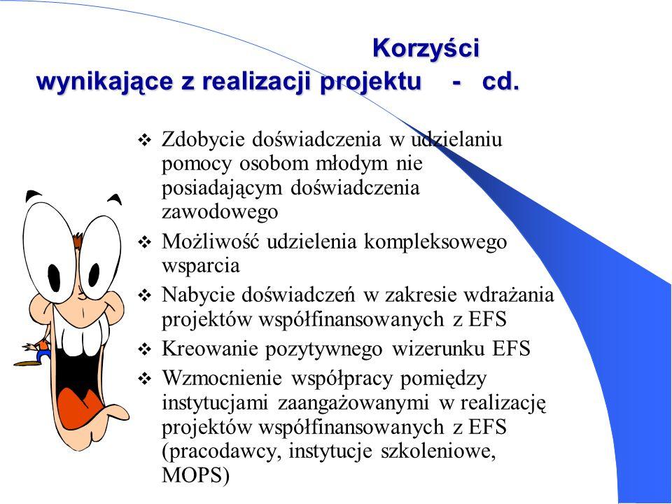 Korzyści wynikające z realizacji projektu - cd.