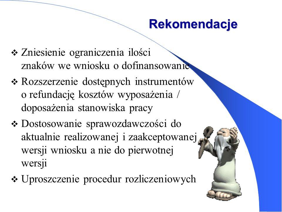 Rekomendacje Zniesienie ograniczenia ilości znaków we wniosku o dofinansowanie.