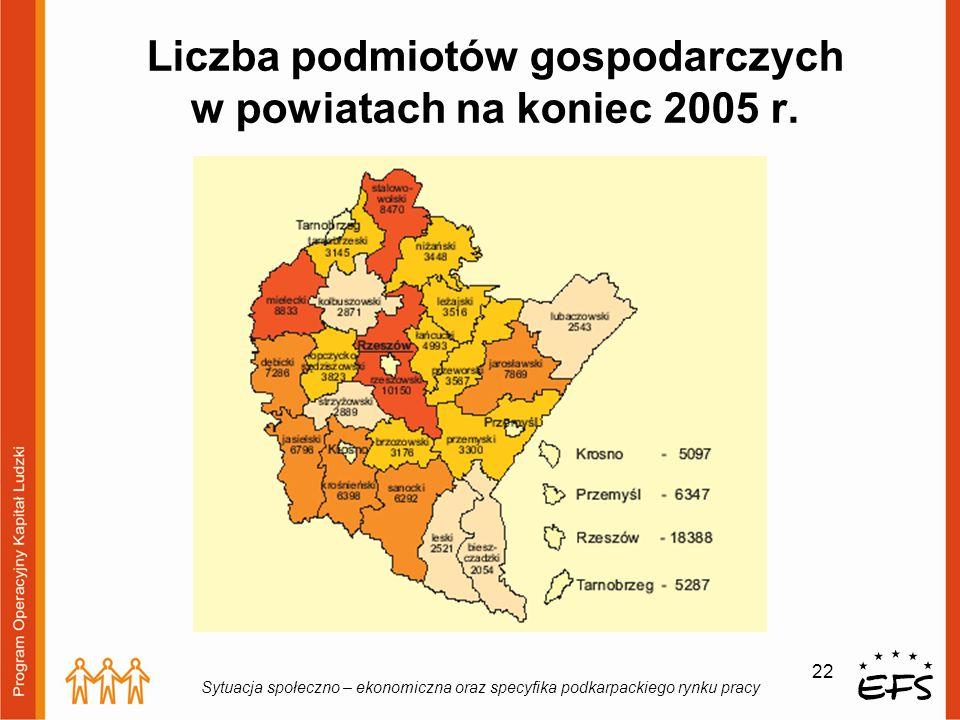 Liczba podmiotów gospodarczych w powiatach na koniec 2005 r.