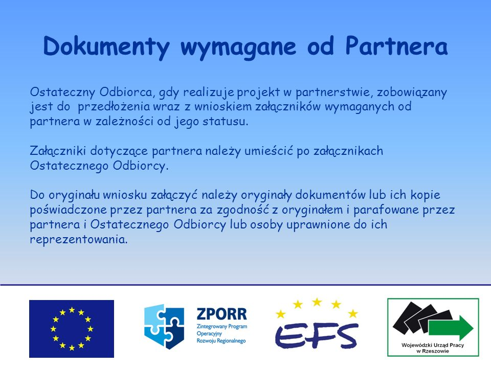 Dokumenty wymagane od Partnera