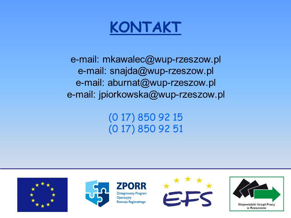 KONTAKT e-mail: mkawalec@wup-rzeszow.pl e-mail: snajda@wup-rzeszow.pl