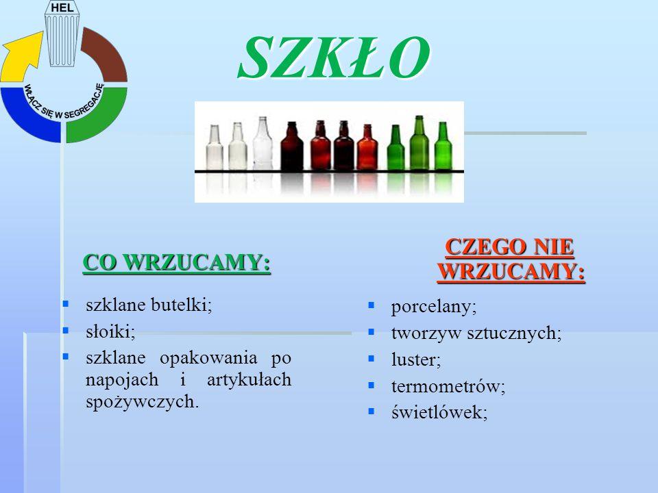 SZKŁO CZEGO NIE WRZUCAMY: CO WRZUCAMY: porcelany; szklane butelki;