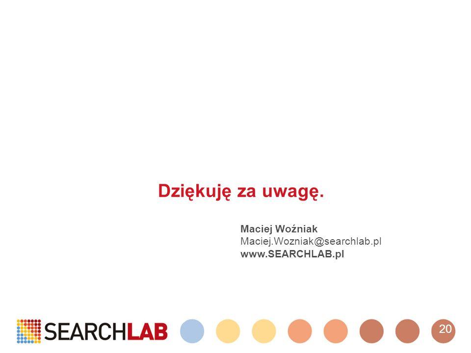 Dziękuję za uwagę. Maciej Woźniak Maciej.Wozniak@searchlab.pl