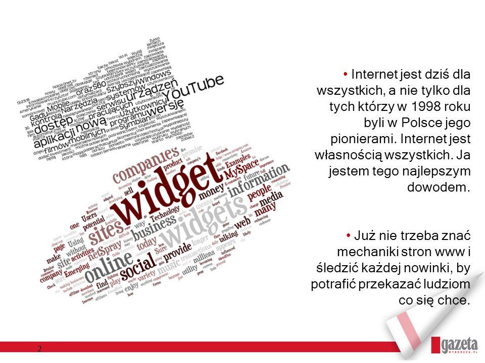 Internet jest dziś dla wszystkich, a nie tylko dla tych którzy w 1998 roku byli w Polsce jego pionierami. Internet jest własnością wszystkich. Ja jestem tego najlepszym dowodem.