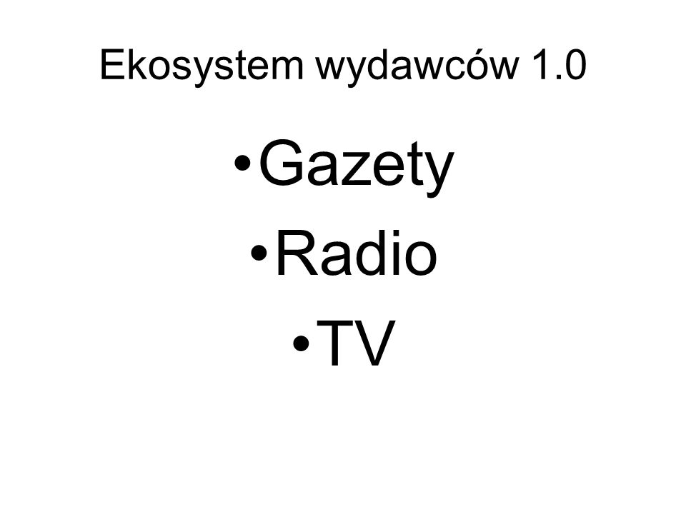 Ekosystem wydawców 1.0 Gazety Radio TV