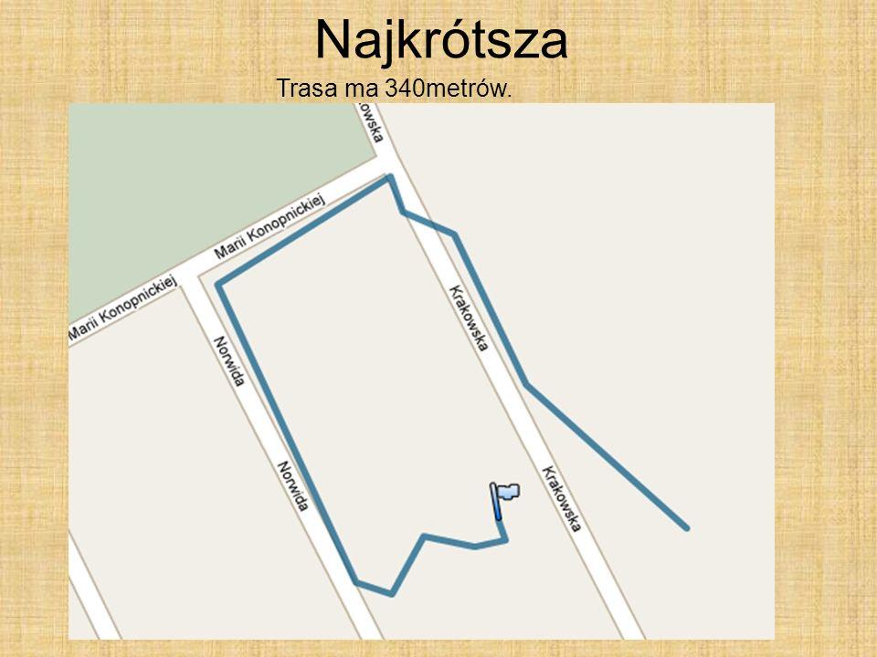 Najkrótsza Trasa ma 340metrów.