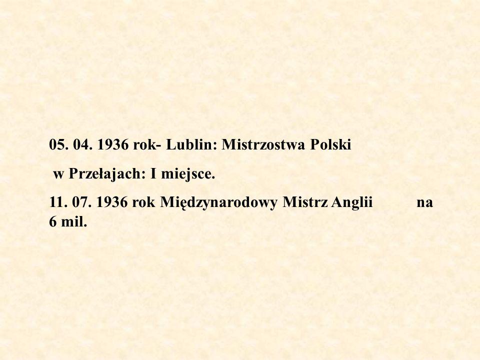 05. 04. 1936 rok- Lublin: Mistrzostwa Polski