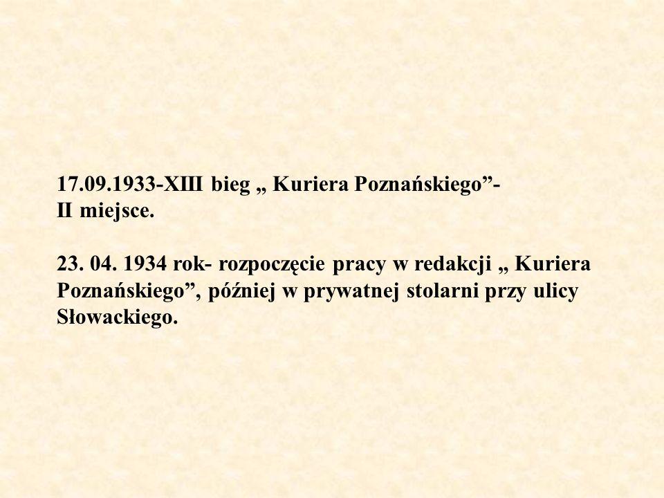 """17.09.1933-XIII bieg """" Kuriera Poznańskiego -"""