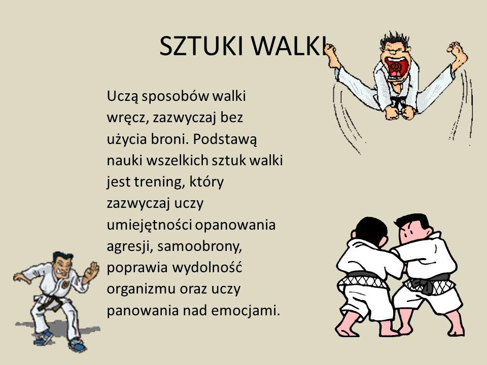 SZTUKI WALKI Uczą sposobów walki wręcz, zazwyczaj bez