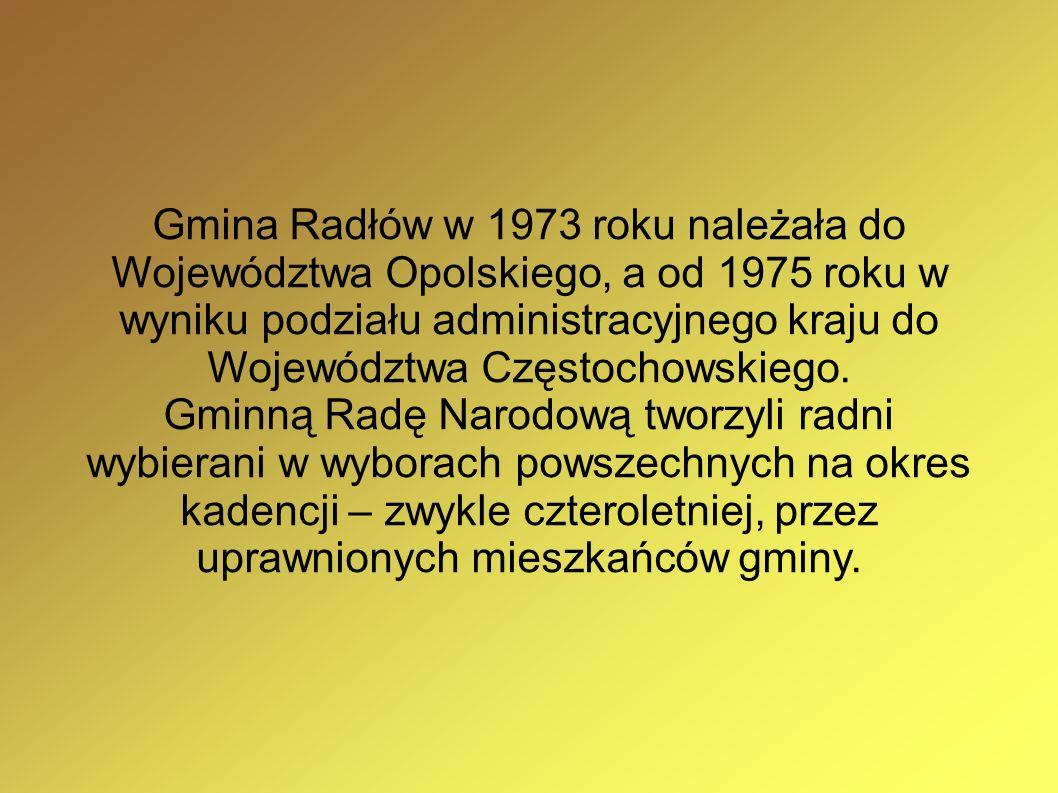 Gmina Radłów w 1973 roku należała do Województwa Opolskiego, a od 1975 roku w wyniku podziału administracyjnego kraju do Województwa Częstochowskiego.