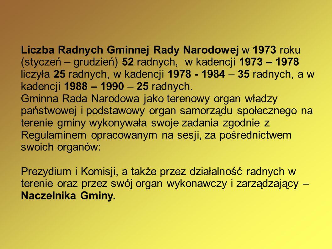 Liczba Radnych Gminnej Rady Narodowej w 1973 roku (styczeń – grudzień) 52 radnych, w kadencji 1973 – 1978 liczyła 25 radnych, w kadencji 1978 - 1984 – 35 radnych, a w kadencji 1988 – 1990 – 25 radnych.