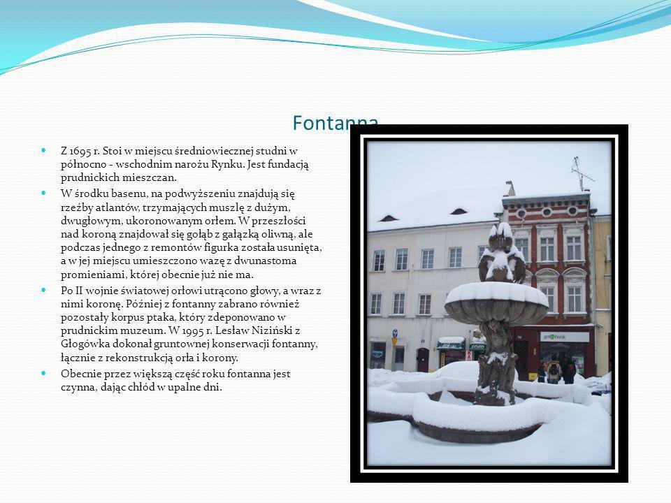 FontannaZ 1695 r. Stoi w miejscu średniowiecznej studni w północno - wschodnim narożu Rynku. Jest fundacją prudnickich mieszczan.