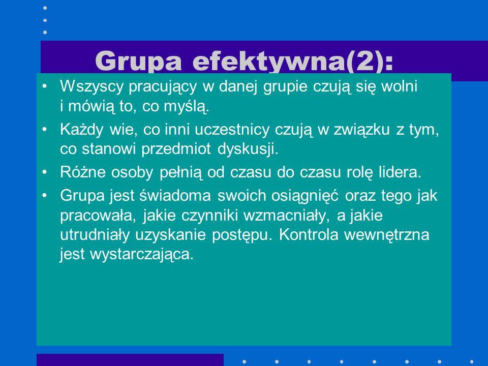 Grupa efektywna(2):Wszyscy pracujący w danej grupie czują się wolni i mówią to, co myślą.
