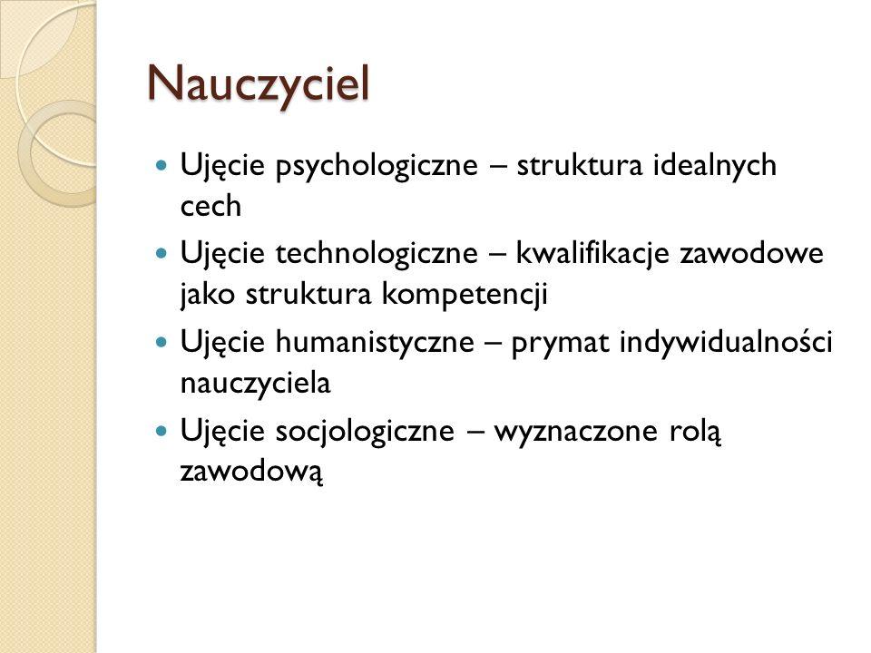 Nauczyciel Ujęcie psychologiczne – struktura idealnych cech