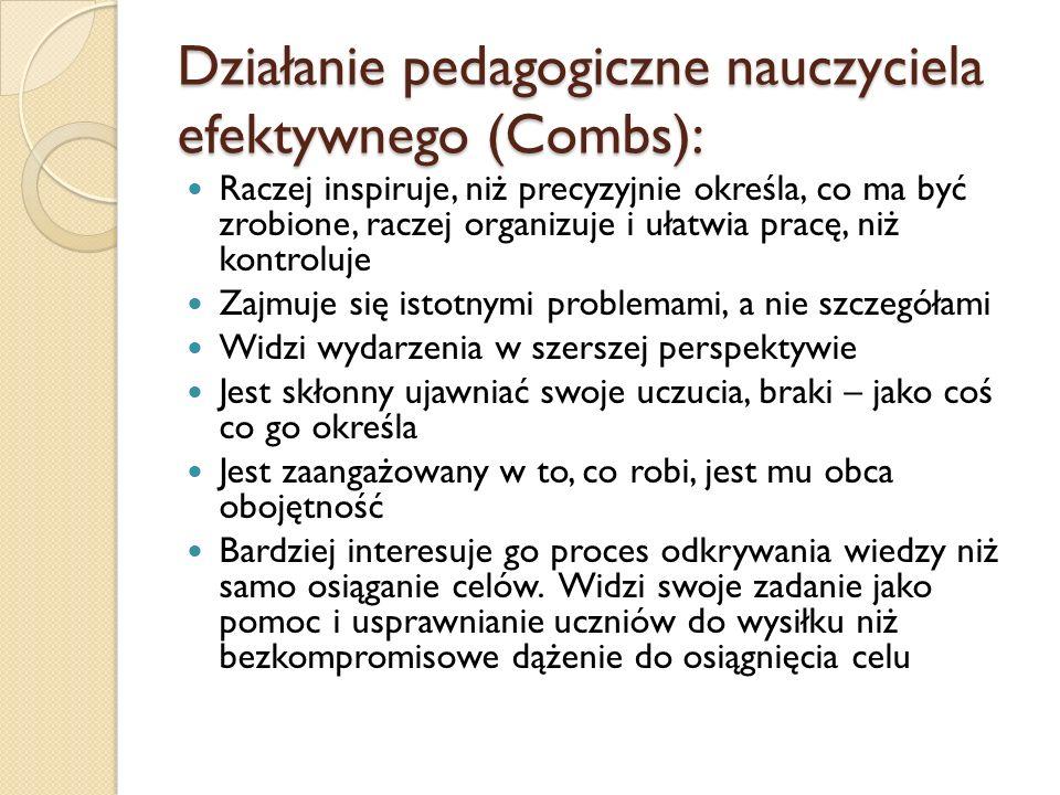 Działanie pedagogiczne nauczyciela efektywnego (Combs):