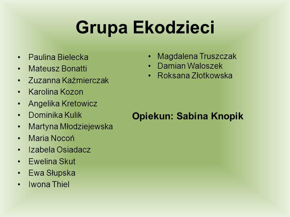 Grupa Ekodzieci Opiekun: Sabina Knopik Magdalena Truszczak