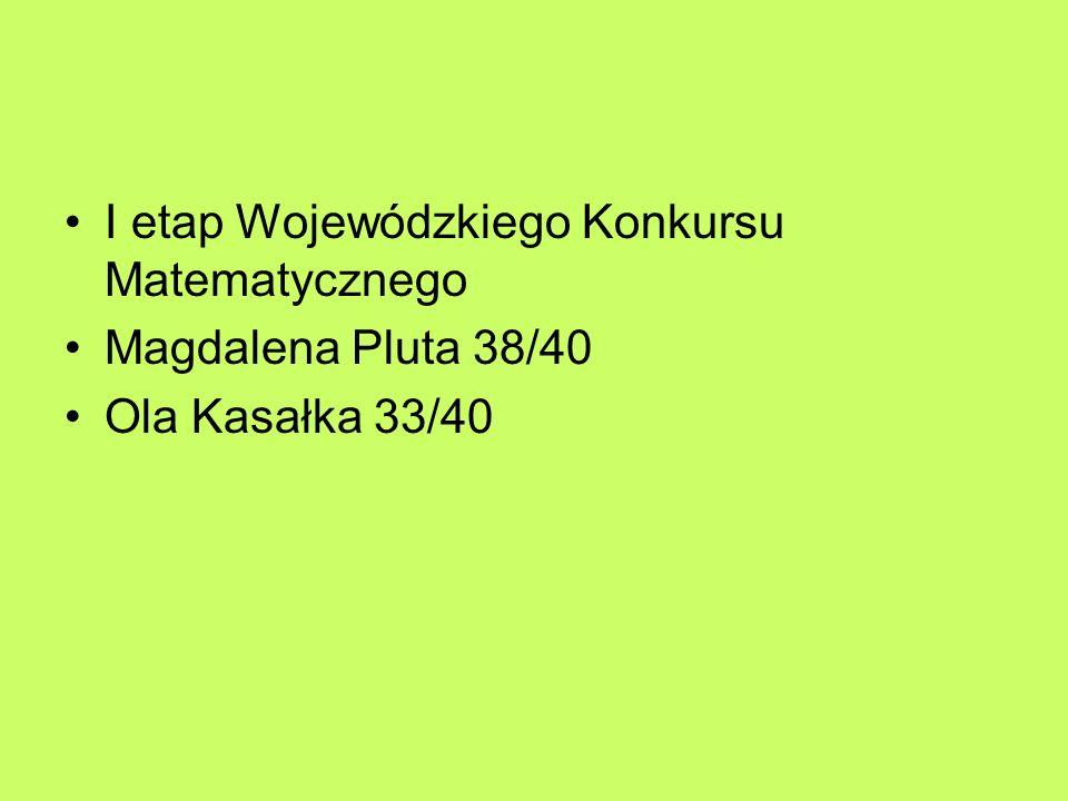 I etap Wojewódzkiego Konkursu Matematycznego